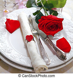 Romantic Red Rose Table Setting