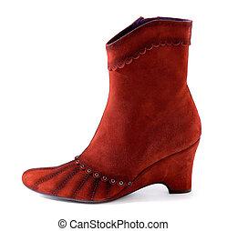 Romantic red suede high heel boot