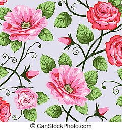 Romantic roses seamless pattern - Pink roses on blue ...