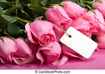 romantic roses with note