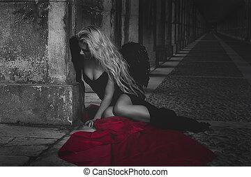 romantic scene, beautiful blond, fallen angel with black dress