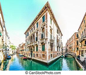 Romantic scene in the streets of Venice, Italy
