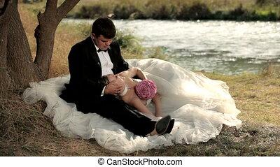 Romantic scene on the river