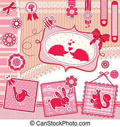 set of cute design elements with animals and vintage style decorations