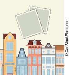 Romantic scrap booking template for traval label, postcard,...