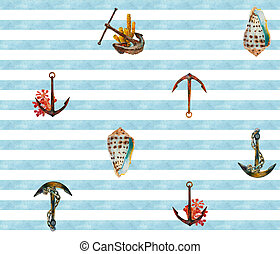 Romantic sea seamless pattern with watercolor anchors, corals and seashell in light blue, white, brown and red colors