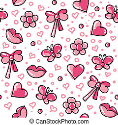 romantic seamless pattern - funny pink seamless pattern with...