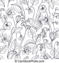 Romantic seamless pattern with blooming spring flowers and leaves hand drawn with contour lines on white background. Botanical realistic monochrome vector illustration in elegant antique style.