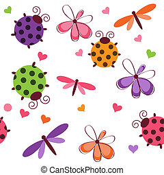 Romantic seamless pattern with dragonflies, ladybugs, hearts...