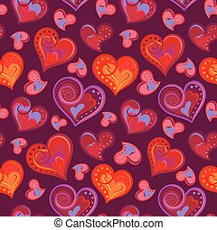 Romantic seamless pattern with colorful hand draw hearts.  Bright hearts on purple background. Vector illustration