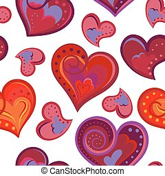 Romantic seamless pattern with colorful hand draw hearts.  Bright hearts on white background. Vector illustration