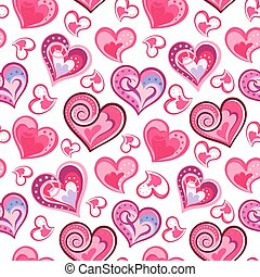 Romantic seamless pattern with colorful hand draw hearts.  Pink hearts on white background. Vector illustration