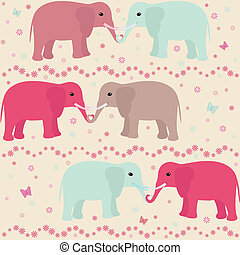 Romantic seamless pattern with elephants