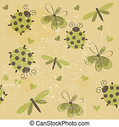 Romantic seamless pattern with dragonflies, ladybugs, hearts and flowers on a white background