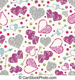 Romantic seamless pattern with grunge hearts and arrows