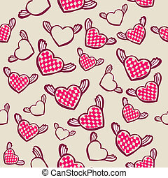 romantic seamless pattern with hearts, vector