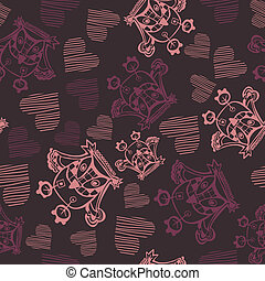 Romantic seamless pattern with owl