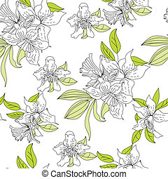 Romantic seamless wallpaper with narcissus flowers