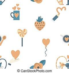 Romantic Seamless with Symbols of Valentine's Day