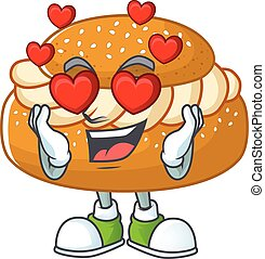 Romantic semla cartoon character with a falling in love face