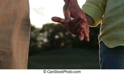 Romantic senior couple holding hands at sunset