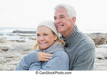 Romantic senior couple together on