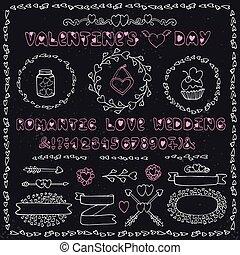 Romantic set. Heart decoration,lettering,labels. Chalk