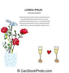 Romantic set illustration.