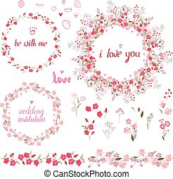 Romantic set with floral elements, round frames made of roses
