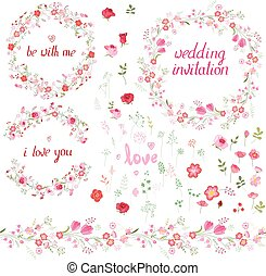 Romantic set with floral elements, round frames made of roses, endless pattern brushes and phrase I love you.