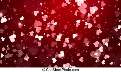 Romantic Shiny red and heart shape particles flying on a ...