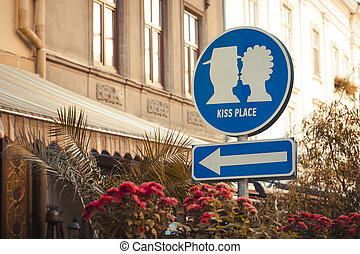Romantic sign at the street