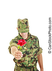 Romantic soldier in military uniform offering red rose