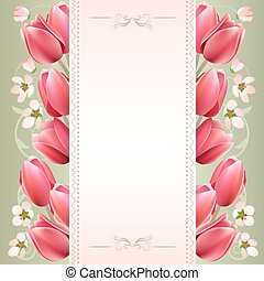 Romantic spring background with tulips