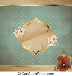 Romantic square banner with flowers - Romantic floral...
