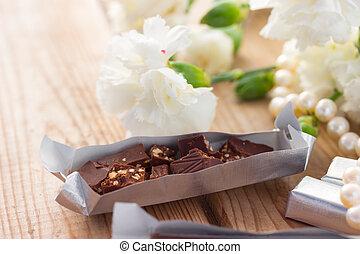Romantic St Valentine's setting with chocolate