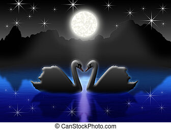 romantic - Pair of the swans on night lake in light of the...