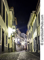 Romantic street in Funchal, Madeira, Portugal .