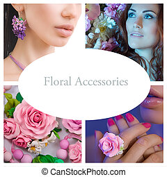 Romantic Style Collage: Fashion shot of a Floral Woman Accessories (Jewelery made of Polymer Clay)