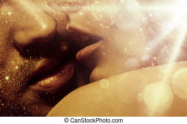 Romantic style portrait of over's lips - Romantic style...