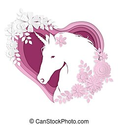 Romantic stylized portrait of a silhouette of a unicorn with flowers on a background of a hearth in the style of paper art.