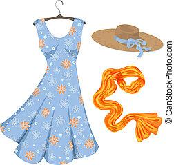 Romantic summer dress and accessories. - Blue dress, orange...