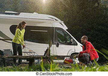 Romantic Summer RV Camper Camping