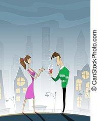 Romantic summer scene with cartoon characters