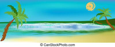 Sea lagoon landscape - Romantic summer travel.Sea lagoon...