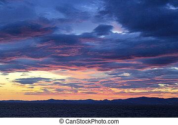 romantic sunset at the adria in croatia