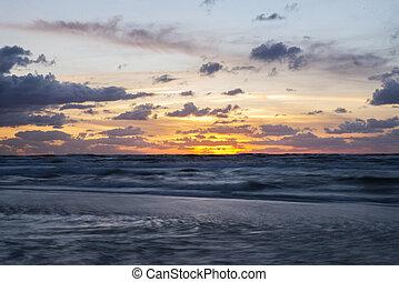 romantic sunset on the beach