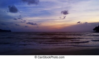 Romantic Sunset over Tropical Beach Paradise, with Sound -...