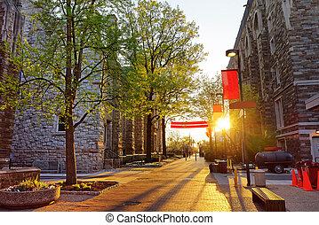 Romantic sunset seen from the Street in Philadelphia