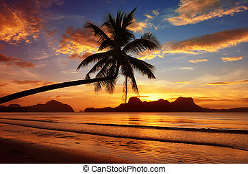 Romantic sunset with views of the islands
